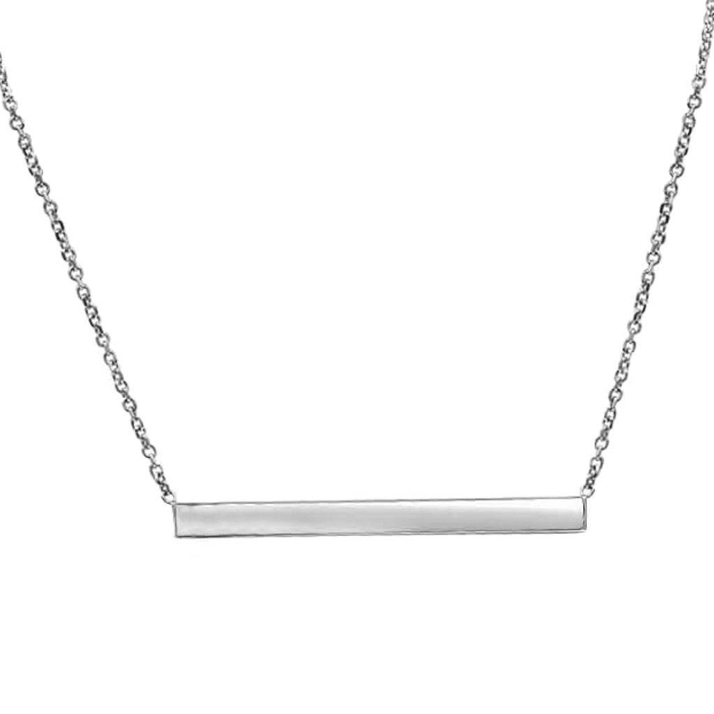 Thin Silver Bar Hand Cut Necklace