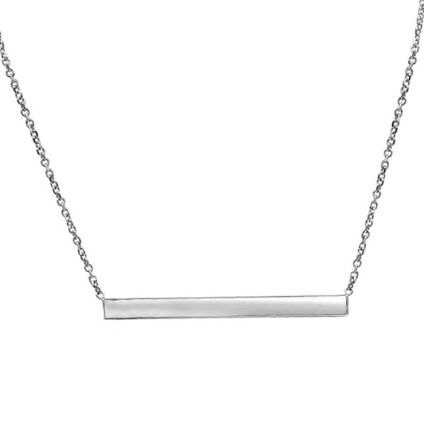 Thin Silver Bar Necklace In 14K Solid Gold