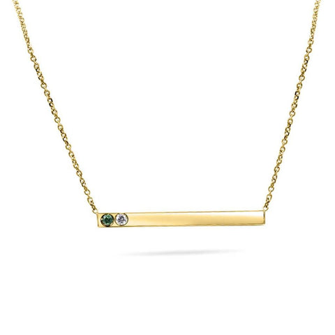 Tori Thin Gold Bar With Diamonds Hand Cut Necklace In 14K Solid Gold