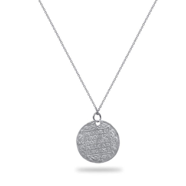 Gold Warrior Coin Necklace in white gold or sterling silver