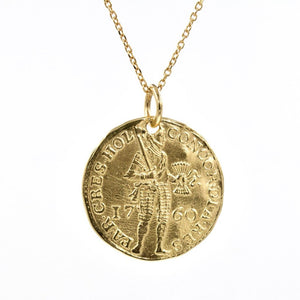 Gold Warrior Coin Necklace in yellow gold