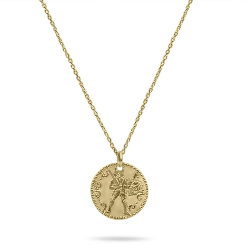 Small Warrior Gold Coin Necklace