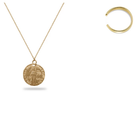Large Gold Plated Warrior Coin Necklace & Ear Cuff Bundle