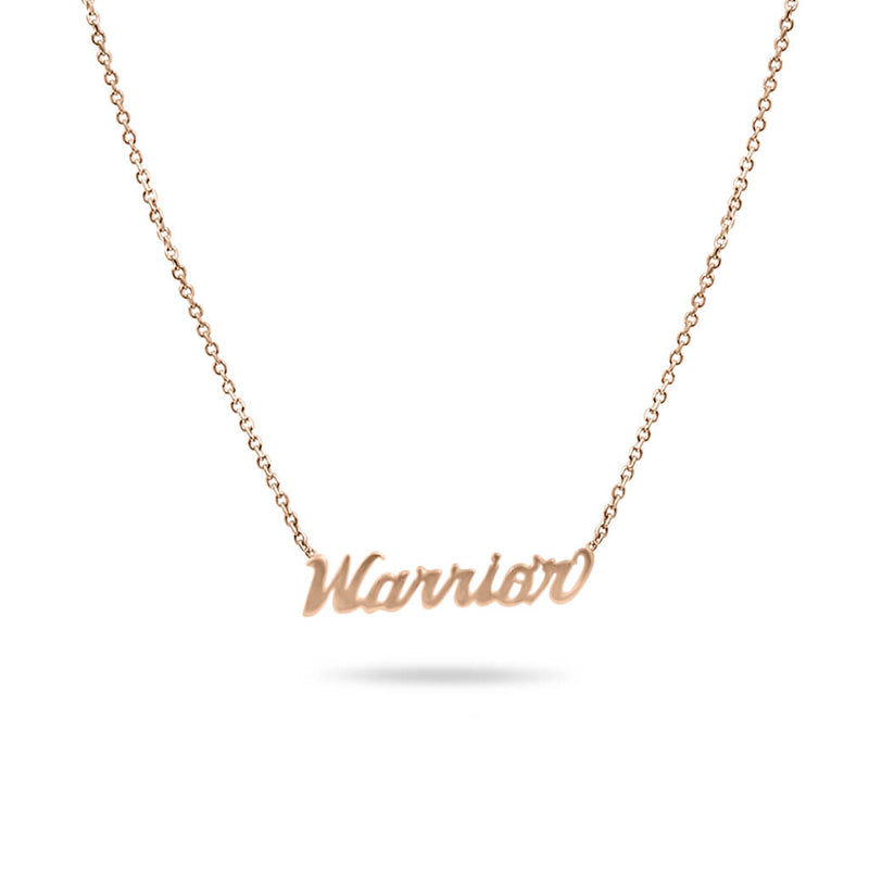 Warrior Custom Name Necklace in 14K Solid Gold