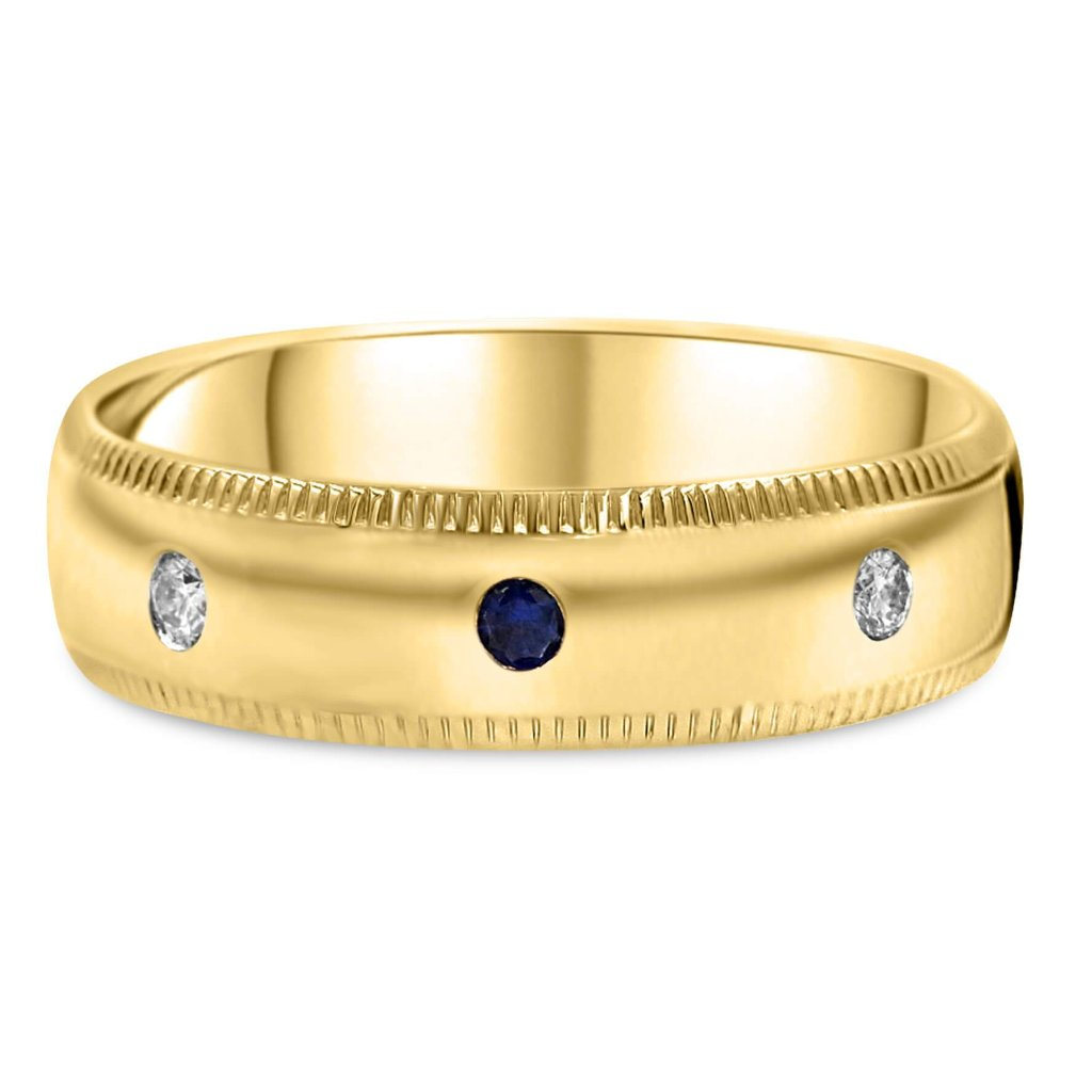 Sapphire & Diamond Men's Wedding Band In 14K Gold