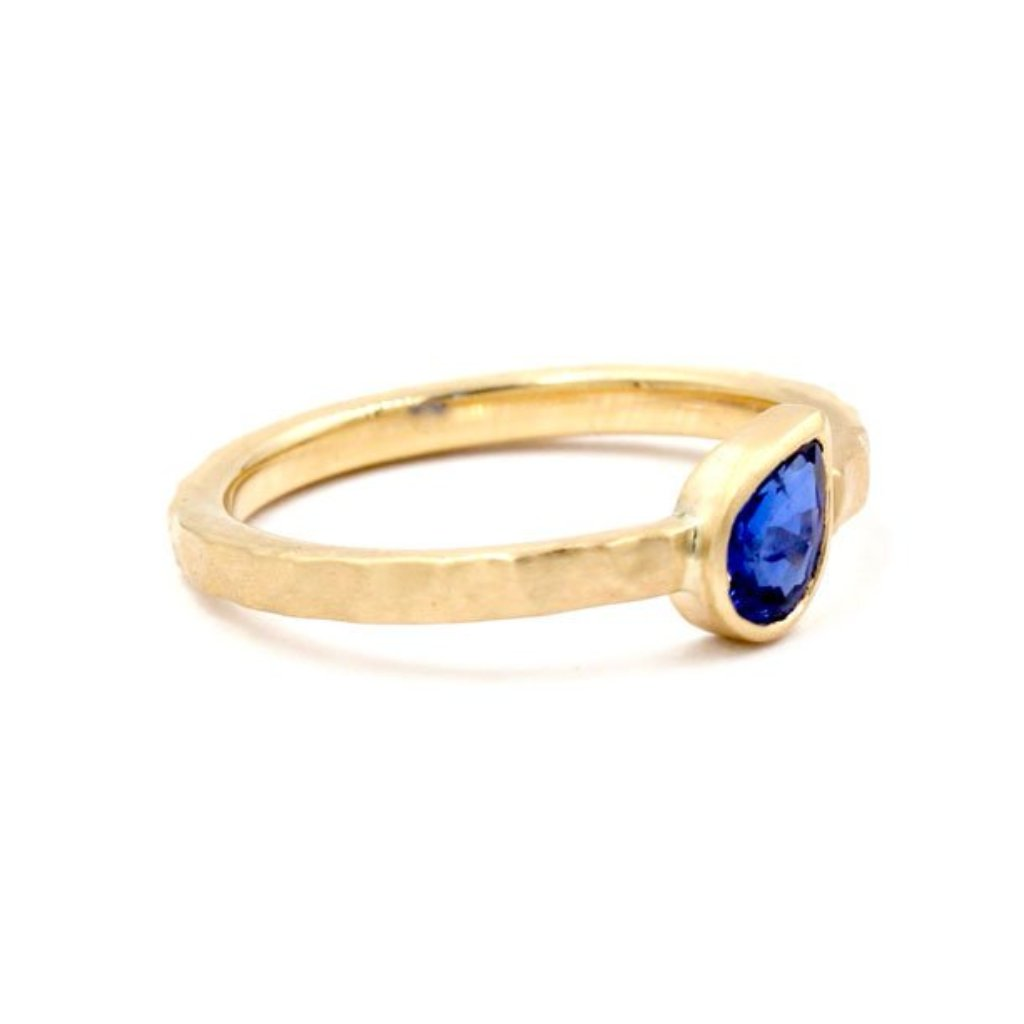 Wisdom Blue Sapphire Hammered Ring 14K Yellow Gold