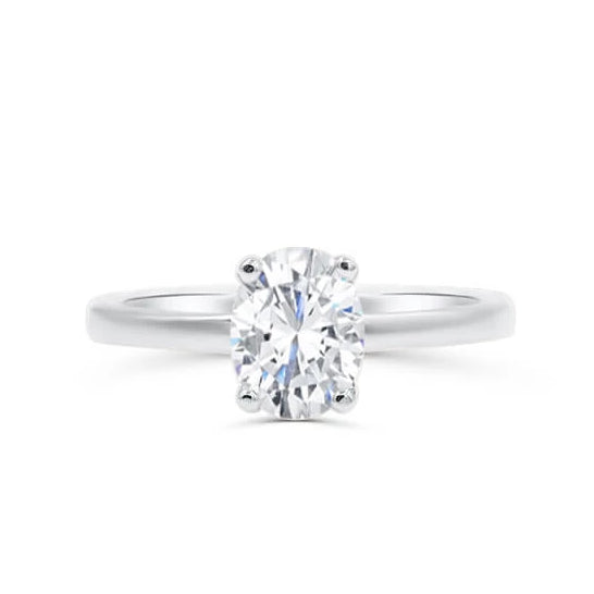 ZOE | Oval Cathedral Gallery Solitaire Engagement Ring