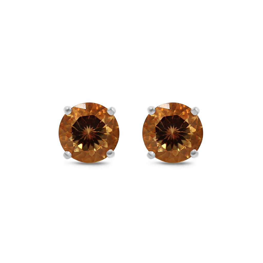 Orange Round Citrine Stud Earrings
