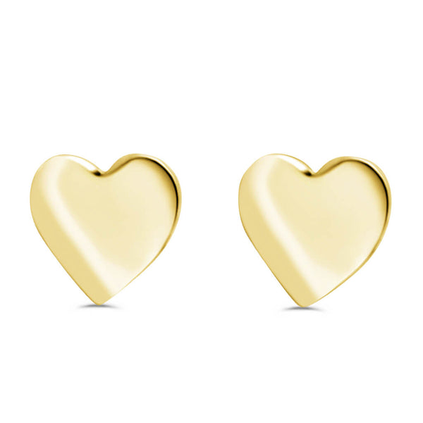 Heart Stud Earrings In 14K Gold