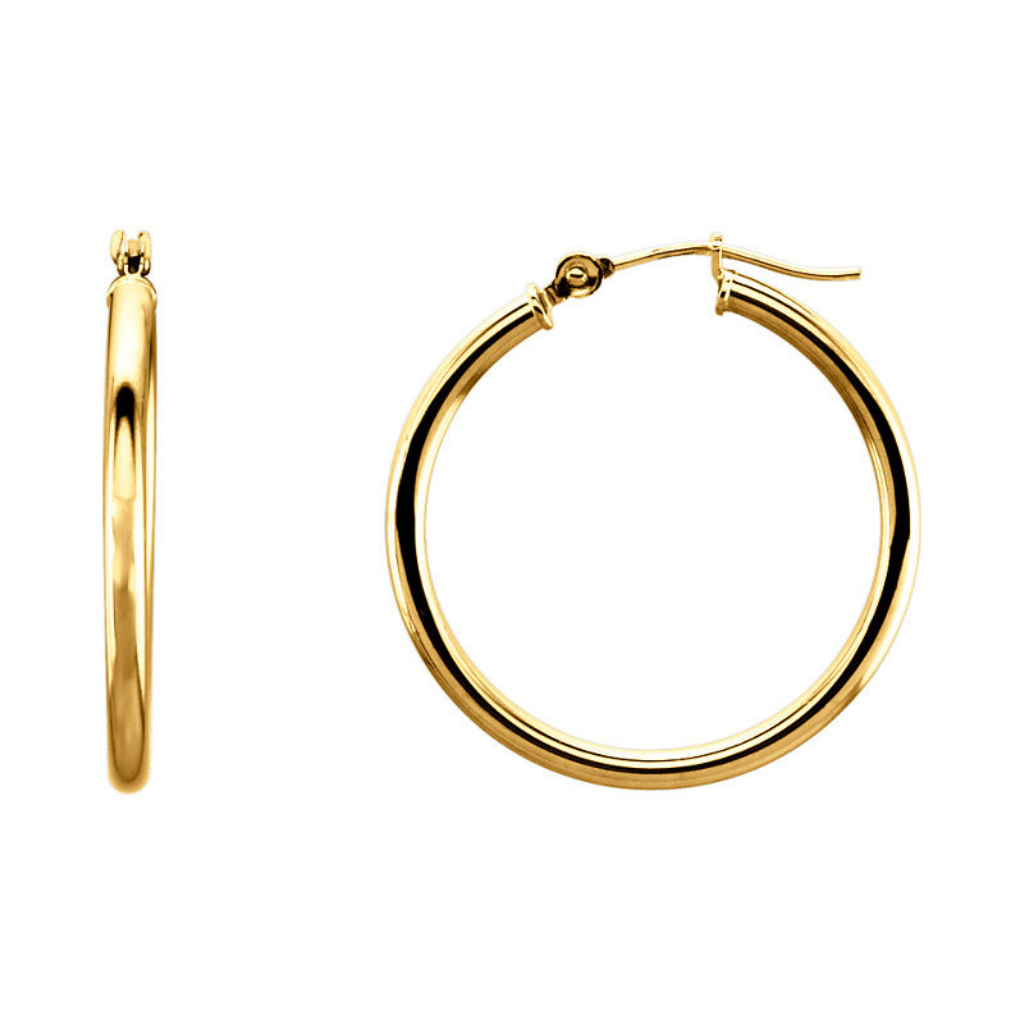 Hoop Earrings 25MM 14K Gold