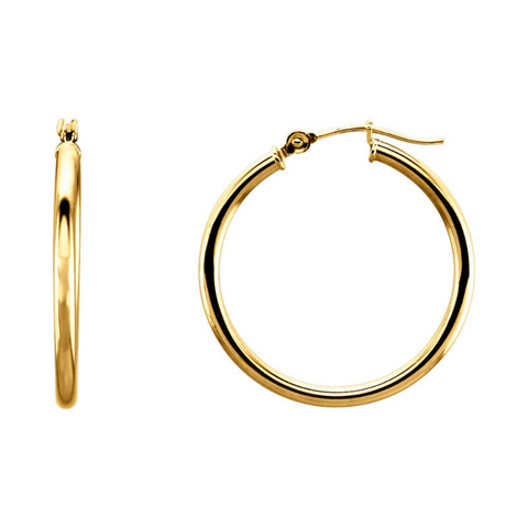 Hoop Earrings 34MM 14K Gold