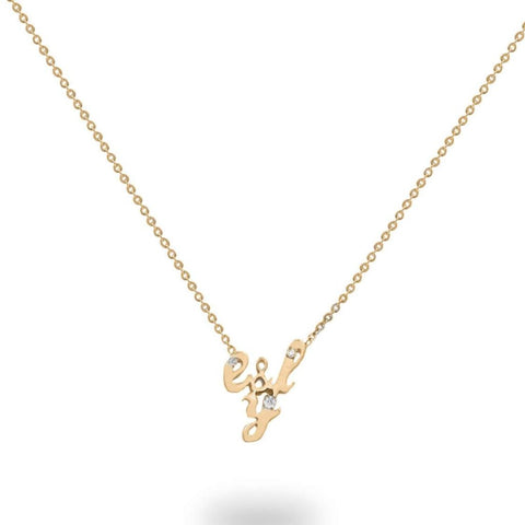Initials Diamond Custom Necklace in 14K Solid Gold