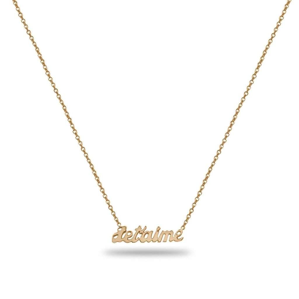 Jet'aime Love Name Necklace in 14K Yellow Gold