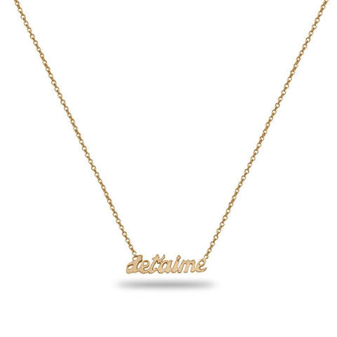 Jet'aime Custom Name Necklace in 14K Solid Gold