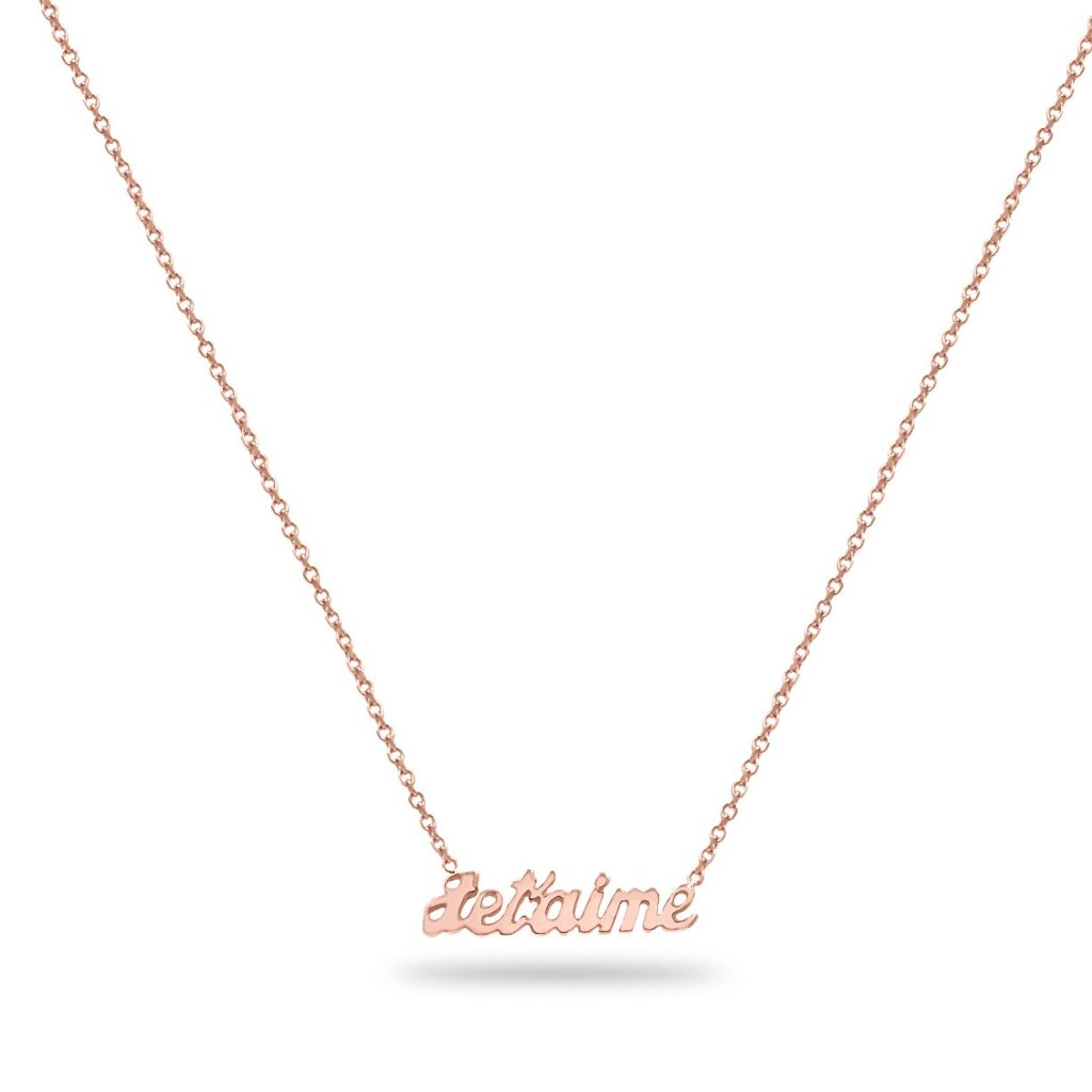 custom gold name necklace 14K rose gold