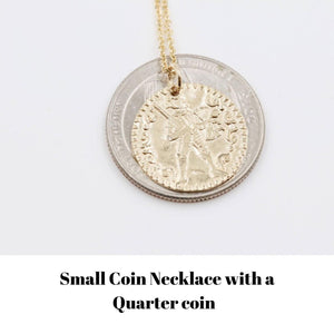 Large Gold Warrior Coin Necklace