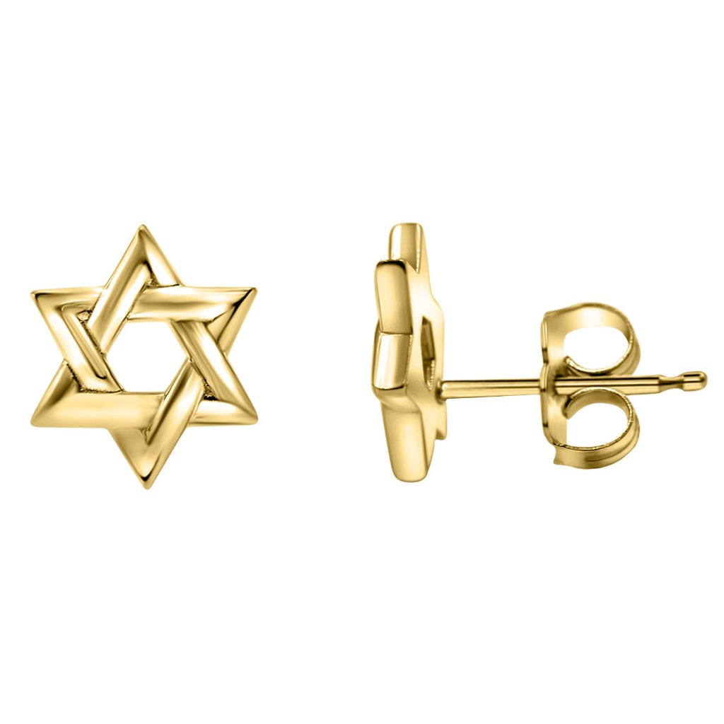 Star Of David Stud Earrings In 14K Solid Gold