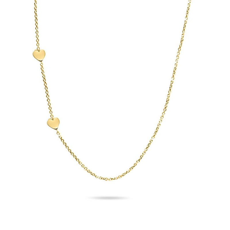 Floating Hearts Necklace in 14K Solid Gold