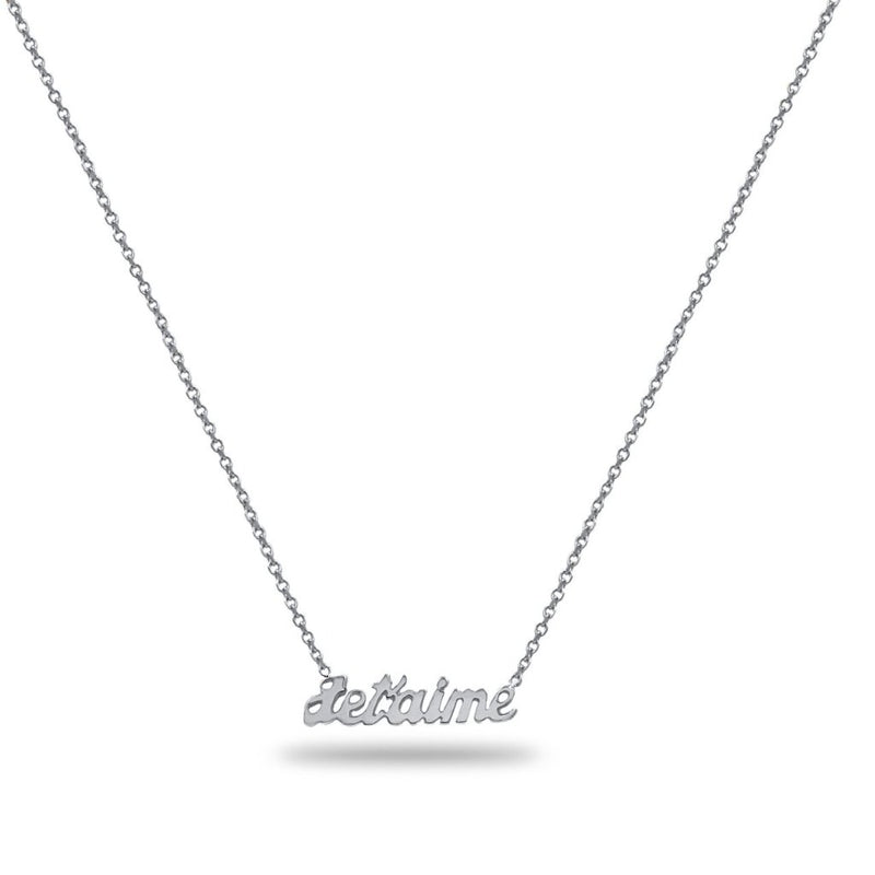 Jet'aime Love Name Necklace in 14K White Gold
