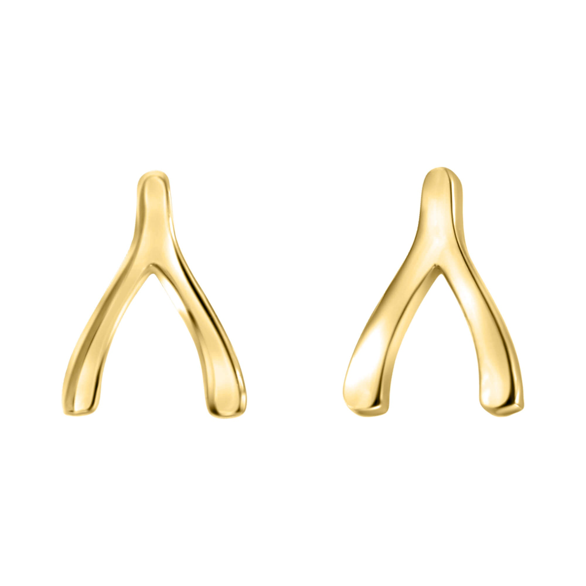 Wishbone Stud Earrings In 14K Solid Gold