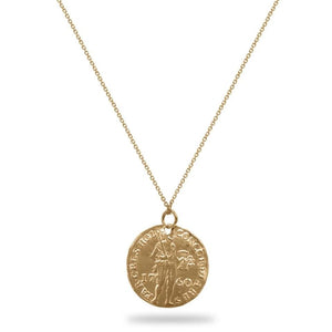 Yellow Gold Warrior Coin Necklace