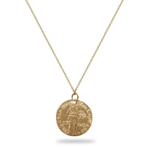 Warrior Coin Replica Necklace 14K Yellow Gold