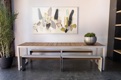 steel + plank outdoor dining table