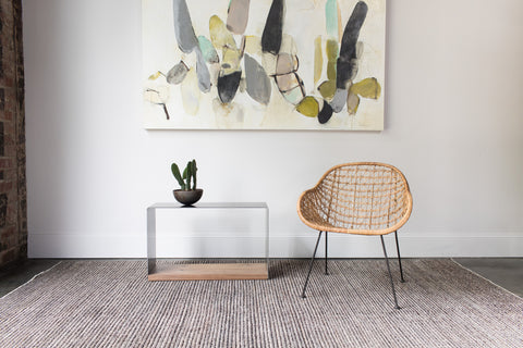 steel + plank bent steel side table