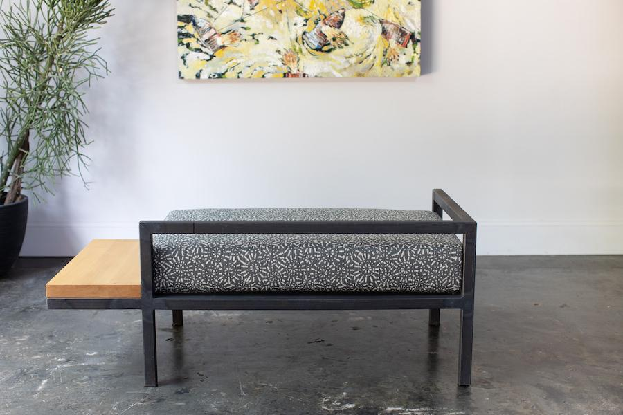 Custom Contemporary Furniture Steel Frame Chaise Lounge Steel + Plank