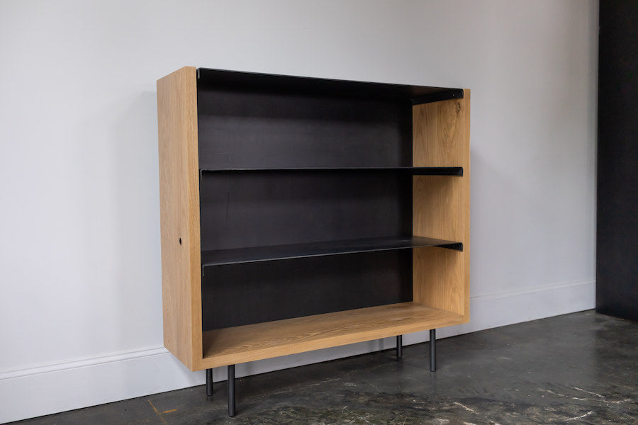 Custom furniture, Athens GA Bent steel bookshelf Steel + Plank