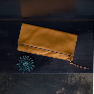 Hatton Henry Foldover Clutch Mustard Yellow Steel+Plank