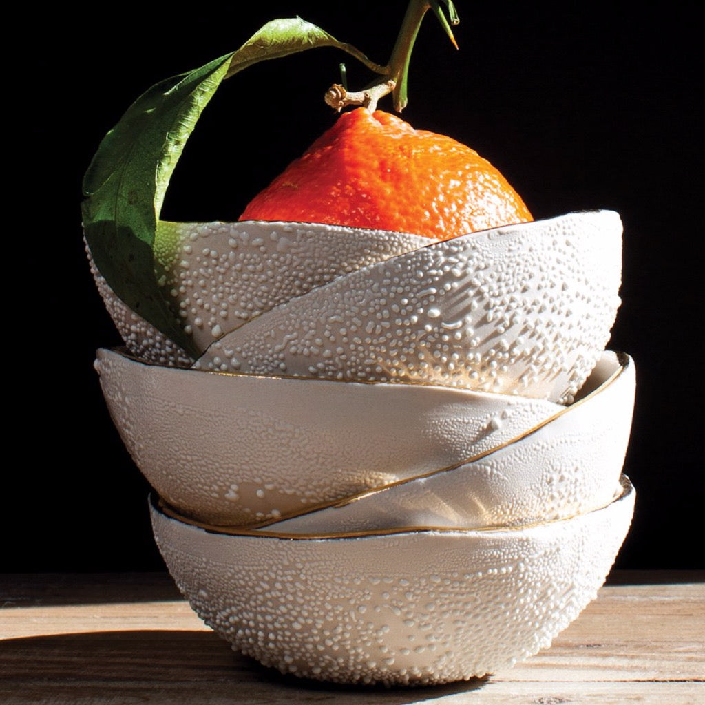 Honey Comb Porcelain Textured Bowl with Gold Rim