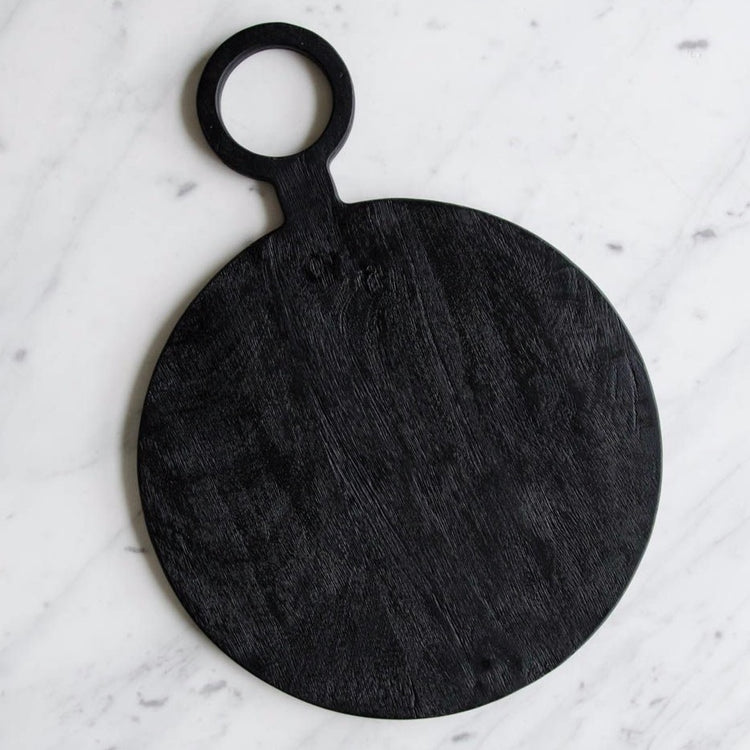 Black Mango Wood Round Serving Board with Handle