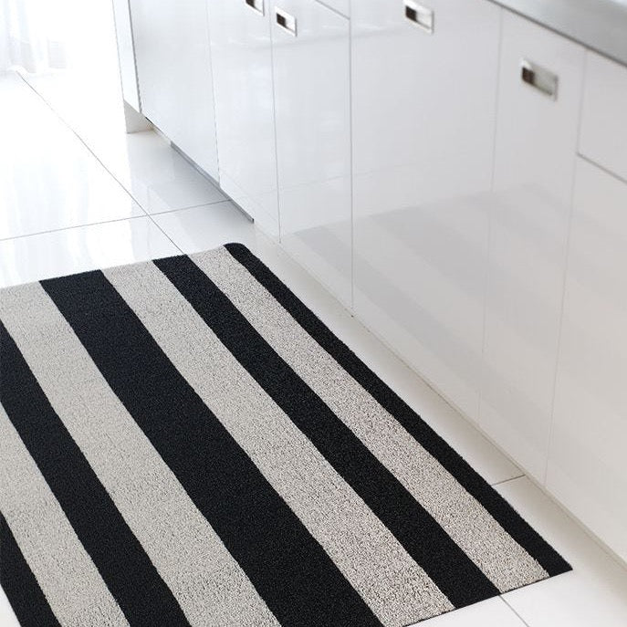 Black and White stripe shag chilewich doormat