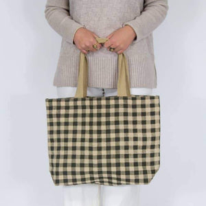 Apple Green Duck Gingham Fabric Tote Bags