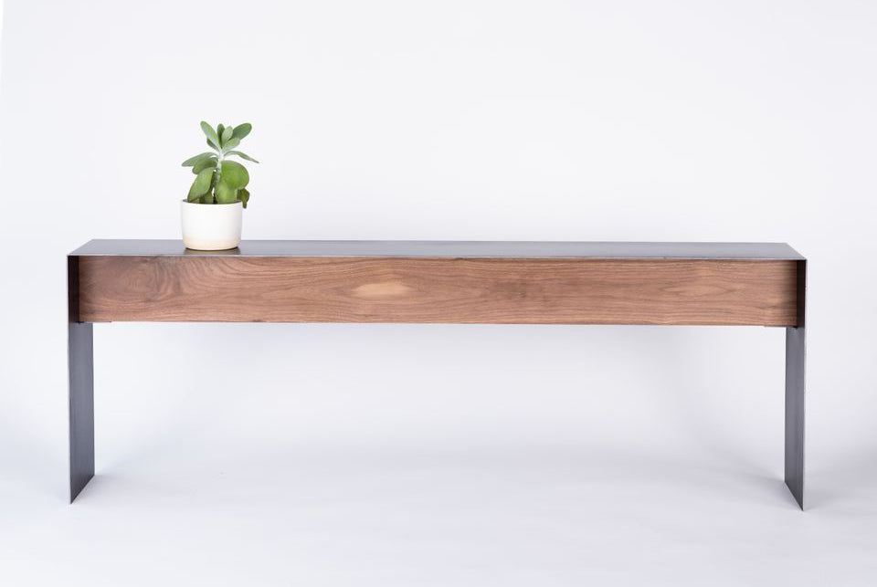 Steel + Plank Bent Steel Table Contemporary Console behind sofa