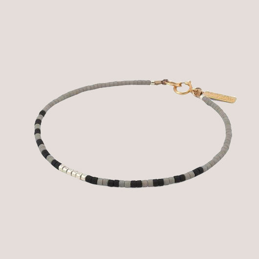 Tintina Abacus Row Beaded Bracelet Steel + Plank
