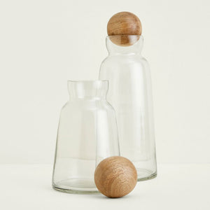 Be Home Glass and Mango Wood Decanter