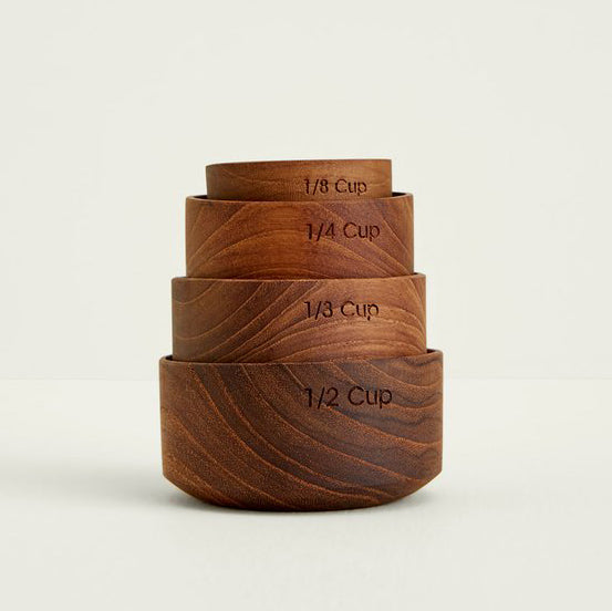 Teak Measuring Cups, No Handles