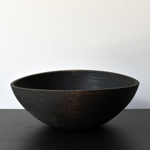 Large Wood Salad Bowl Ebonized Oak Dinnerware Southfork TImber