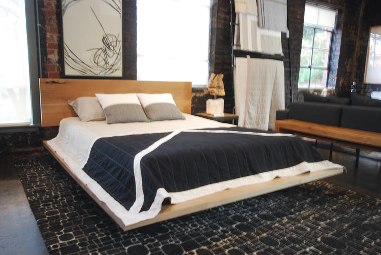 custom built furniture Solid Plank platform bed steel+plank