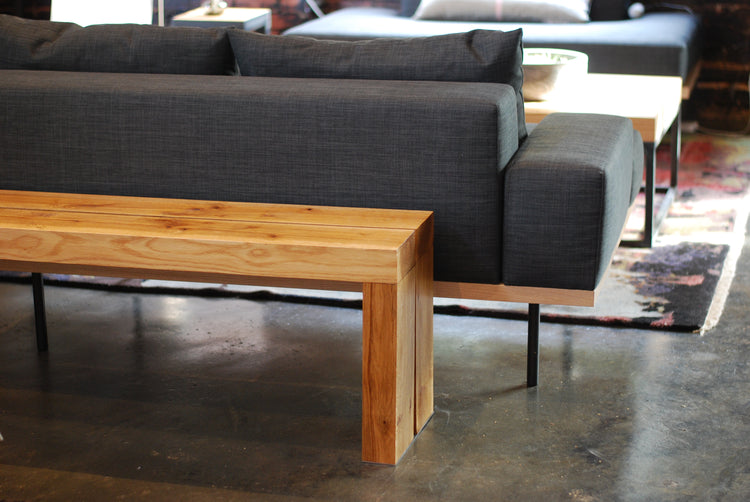 steel+plank white oak reclaimed mill plank bench