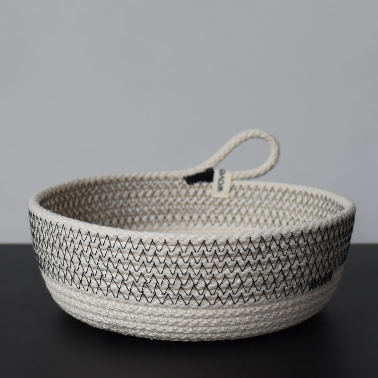 Striped Woven Storage Bowl