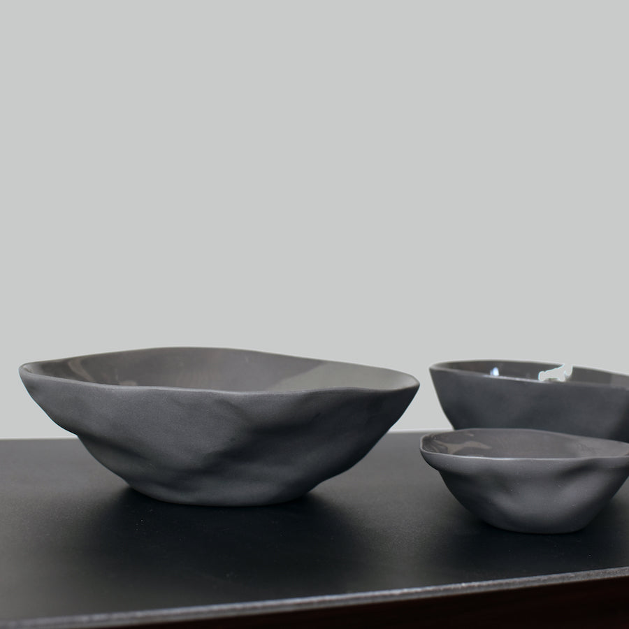 Be Home Handcrafted Gray Stoneware Bowls