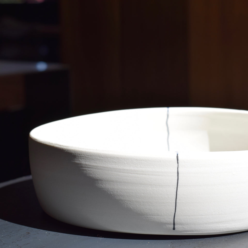 Studio CRL Nested Serving Bowl with Lines Steel+Plank