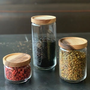 Glass Canister with Acacia Wood Lid