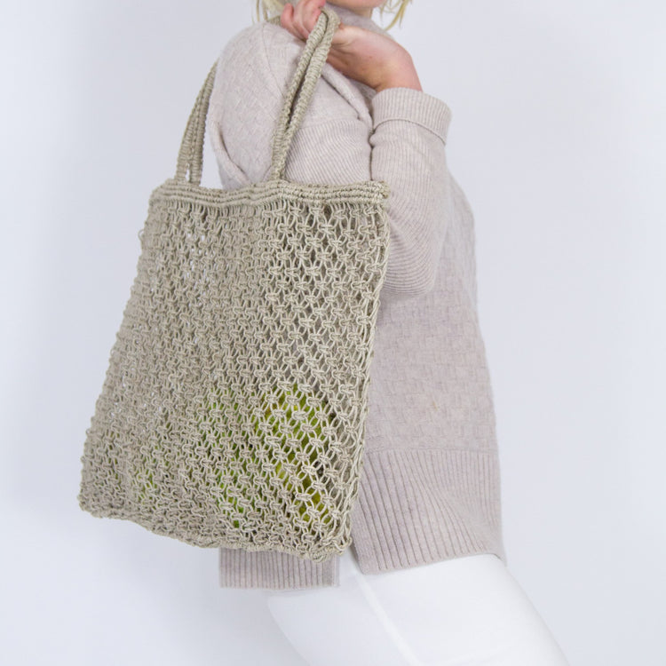 Jute string shopper Apple Green Duck Jute Tote with Handles