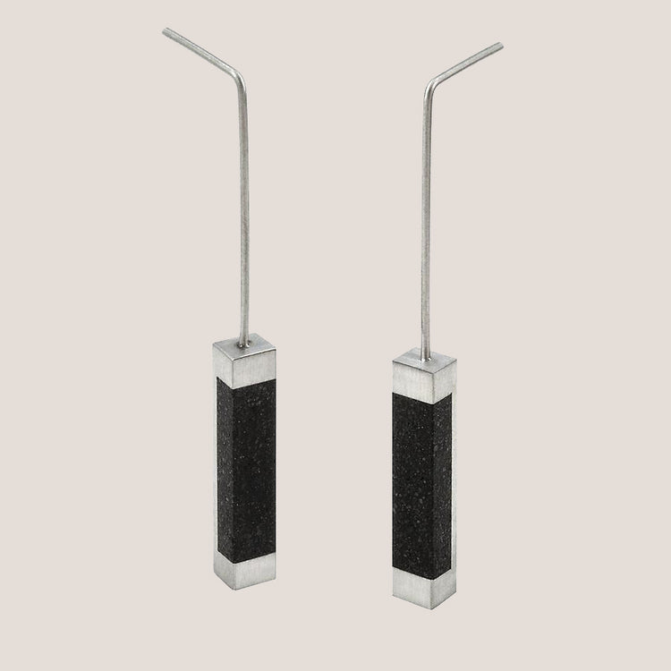 Rectangular Concrete Drop Earrings