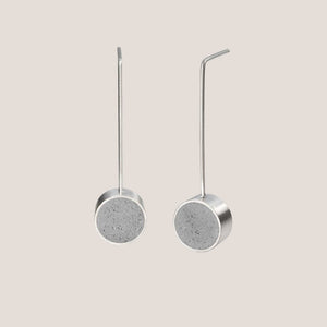 Karen Konzuk Jewelry, concrete drop earring with stainless steel