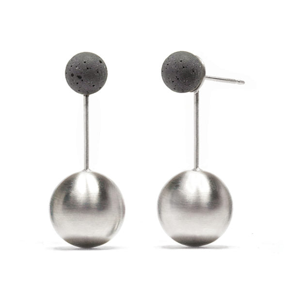 Stainless And Concrete Orbis Earrings